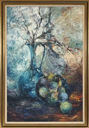 Sale 8449A - Lot 592 - Susan Sheridan (1939 - ) - Jug with Fruit 91 x 60cm