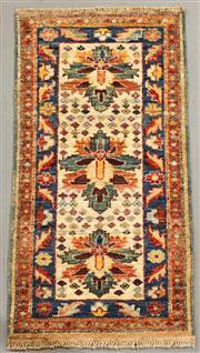 Sale 8445K - Lot 61 - Vegetable Dye Chobi Rug , 98x52cm, Subtle vegetable dye Chobi rug handwoven using lustrous Ghazni wool. Stunning colour variations,...