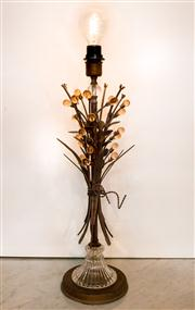 Sale 8516A - Lot 46 - An Italian tole lamp, with cut glass base & blown glass baubles. 75cm high x 20cm wide