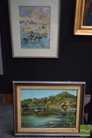 Sale 8541 - Lot 2066 - 2 Works: H.Zentner Bay Scene Framed Oil on Board SLR with Mitchell Board Harbour at Cassis Framed Watercolour SLR