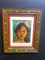 Sale 8650 - Lot 2020 - Artist Unknown - Balinese School Portrait of a Girl, frame size: 43 x 35.5cm