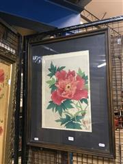 Sale 8711 - Lot 2046 - Chinese Still Life woodblock with hand-colouring 59.5 x 46.5cm, inscribed -