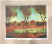 Sale 8784 - Lot 2015 - Pro Hart Days We Went Swimming, colour offset lithograph (unframed), 40 x 49.5cm, signed lower right -