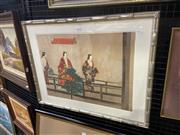 Sale 8995 - Lot 2028 - Tsukioka Kogyo - Sumiyoshi Mode, Japanese Woodblock 1898, Framed