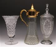Sale 9078 - Lot 114 - A Gilt Metal And Crystal Ewer H:38cm, Vase H: 34cm And A Lidded Example H:39cm (Some chips)