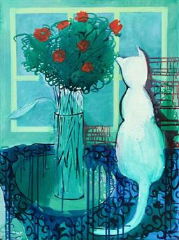 Sale 9249A - Lot 5011 - CHRISTABEL BLACKMAN (1959 - ) Cat and Flowers, 2013 acrylic on canvas 102 x 77 cm signed lower left