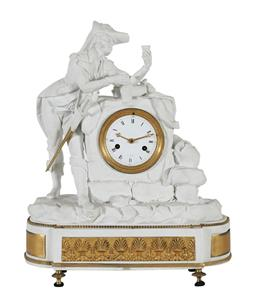Sale 9245J - Lot 59 - A fine quality French Regence Sevres bisque mantel clock, with figural decoration depicting the gent with wine jug and tumbler. The ...