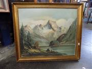 Sale 8413T - Lot 2098 - Artist Unknown, Alpine Scene, oil on canvas, 50 x 59.5cm, signed lower left