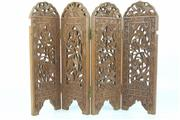 Sale 8417 - Lot 99 - Four Section Ornately Carved Timber Screen (height - 42cm)