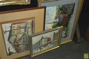 Sale 8425T - Lot 2064 - 4 Mixed Artworks (AF) incl Moulin Rouge, signed Burnett