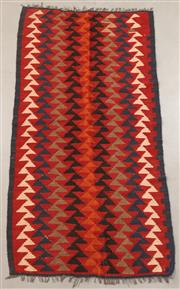 Sale 8445K - Lot 62 - Maimana Afghan Kilim Rug , 193x101cm, Handwoven in Northern Afghanistan using durable local wool. Traditional and reversible slit we...