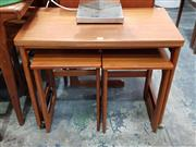 Sale 8801 - Lot 1101 - McIntosh Teak Nest of Tables with Fold Over Top