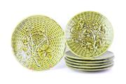 Sale 8757 - Lot 51 - Antique French Sarreguemines Majolica green glazed basket weave and grape vine relief decorated 7 piece suite comprising a footed co...