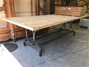 Sale 8822 - Lot 1877 - Recycled Elm Top Dining Table on Metal Base (L: 245cm)