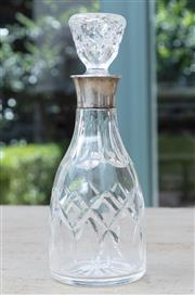 Sale 8866H - Lot 71 - A cut crystal and silver topped bottle with birmingham hallmarks, Height 20cm