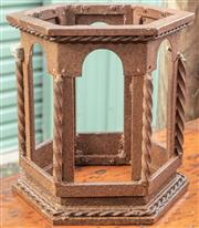 Sale 8984W - Lot 594 - A cast iron hexagonal lantern case. Height 29cm