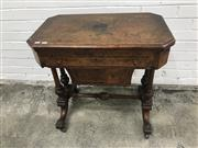 Sale 9068 - Lot 1074 - Victorian Burr Walnut Sewing & Games Table, the hinged top with marquetry & monogrammed panel (distressed), enclosing a green baize...