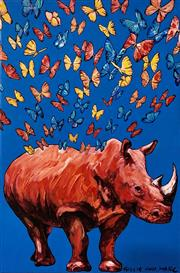 Sale 9072A - Lot 5051 - Gillie and Marc - The Red Rhino was Glowing 92 x 61 cm (stretched and ready to hang)