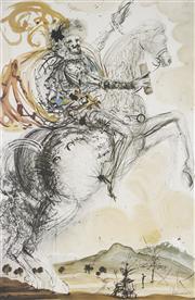 Sale 9081A - Lot 5040 - Salvador Dali (1904 - 1989) - Don Quixote 72 x 48 cm (frame: 111 x 84 x 3 cm)