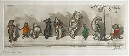 Sale 9142A - Lot 5076 - BORIS OKLEIN (1893 - 1985) - Chacun Son Tour (Wait Your Turn) 22 x 50 cm (frame: 24.5 x 52.5 cm)