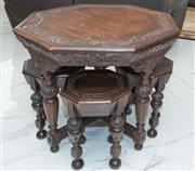 Sale 8338A - Lot 31 - A Victorian carved oak octagonal table with a nest of four matching stools, H 74 x D 94cm
