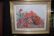Sale 8419T - Lot 2028 - Muriel Holberton - In the Red, oil on canvas board, 39.5 x 50cm, signed lower left