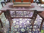 Sale 8428 - Lot 1004 - Japanese Carved Side Table, the shaped top with birds & flowers, on pierced supports with pines & clouds