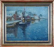 Sale 8459 - Lot 593 - Erling Dyring (1892 - 1978) - Fra Vestre Prosgrunn 28.5 x 37cm