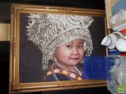 Sale 8474 - Lot 2095 - Artist Unknown (XX) Young Girl in Traditional Headdress, acrylic on canvas, 75 x 100cm, unsigned