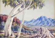 Sale 8504 - Lot 590 - Oscar Namatjira (1922 - 1991) - Central Australian Landscape 16 x 24.5cm