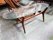 Sale 8607 - Lot 1082 - G-Plan Teak Coffee Table with Oval Glass Top