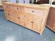 Sale 8601 - Lot 1188 - Parquetry Elm Sideboard with Three Drawers & Six Doors (H: 90 W:200 D: 45cm)