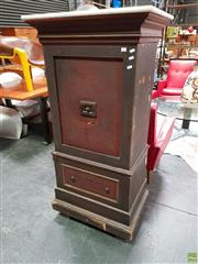 Sale 8625 - Lot 1019 - Marble Top Vintage Safe on Timber Base (2 x Keys in Office)