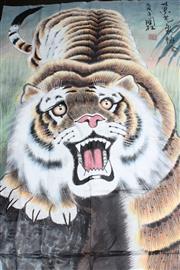 Sale 8710 - Lot 20 - Li Guo Zhu, Tiger - watercolour/ink on paper 175cm x 93cm