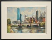 Sale 8759 - Lot 2050A - Charles Benk - Bridge scene 43 x 63.5cm