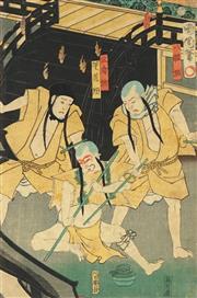 Sale 8777A - Lot 5018 - Kunichika Toyohara (1835 - 1900) - 35 x 23cm (frame: 53 x 42cm)