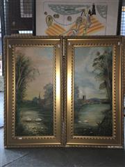 Sale 8776 - Lot 2054 - Pair of Early 20th Century English Country Oil Paintings, frame size: 93 x 49 each