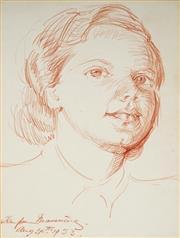 Sale 9004 - Lot 2024 - Tempe Manning (1893 - 1960) - Portrait of a Woman, Possibly Self, 1953 (sketch) 31 x 22 cm (mount: 49 x 38 cm)