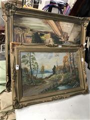 Sale 9011 - Lot 2081 - Pair of European Countryscape Paintings, frames: 75 x 105cm 75 x 103cm; 82 x 97cm