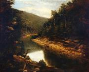 Sale 9021 - Lot 576 - Artist Unknown (C19th) - Boating on a Tranquil River 72.5 x 90.5 cm (frame: 87 x 105 x 4 cm)