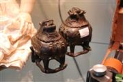 Sale 8362 - Lot 17 - Pair of Bronze Chimera Shaped Censers, Four Character Qianlong Mark to Base, 12 cm H (2)