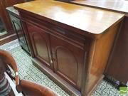 Sale 8428 - Lot 1068 - Late 19th Century Cedar Chiffonier, with frieze drawer, single shelf & two arched panel doors (H 102 x W 117 x D 51cm)