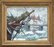 Sale 8459 - Lot 594 - Lars-Gunnar Nordström (1924 - 2014) - Harbour Scene 36 x 44cm