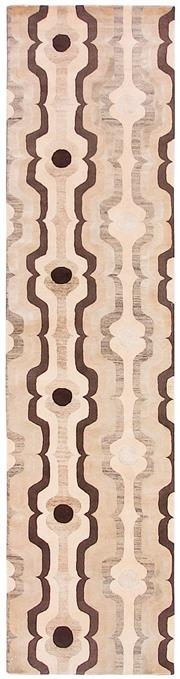 Sale 8626A - Lot 59 - A Cadrys Florence Broadhurst 'Swedish Stripe' Chinese Silk & Tibetan Highland Wool Carpet, Size; 342x90cm, RRP; $2750