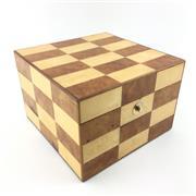Sale 8657X - Lot 185 - Italian Chequerboard Inlaid Timber Jewellery Box, 15 x 15 x 10cm
