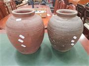 Sale 8676 - Lot 1311 - Pair of Stoneware Hand Made Vases