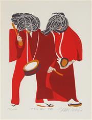 Sale 8794A - Lot 5065 - Masaaki Tanaka (1947 - ) (2 works) - Two Musicians, 1977 & Two Samurai, 1976 30.5 x 23cm each