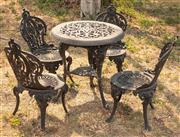 Sale 8871H - Lot 69 - A cast iron black five piece outdoor setting