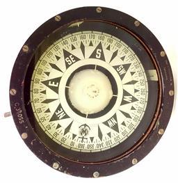 Sale 9142A - Lot 5078 - World War II era Ship Compass from Iver C. Weilbach in Copenhagen: metal and glass, diam.24cm