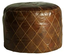 Sale 9250T - Lot 5 - A bourbon toned round ottoman in vintage aged leather with diamond embroidery detailing. Height 44cm x Width 55cm x Depth 55cm